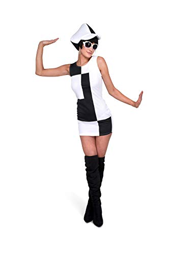 60s Mod Girl Costume - Halloween Groovy Black White Party Dress and Hat, Large -