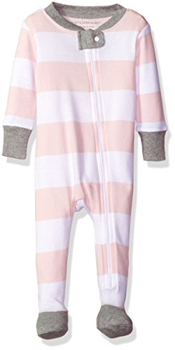Burt's Bees Baby Organic Zip Front Sleeper, Blossom Rugby Stripe, 12 Months
