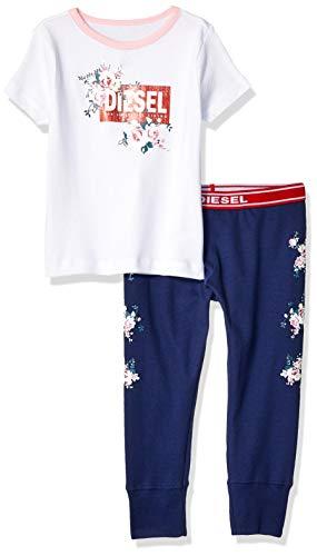 Diesel Sleepwear Girls' Little Printed T-Shirt and Pant Sleepwear Set, White/Navy, 6