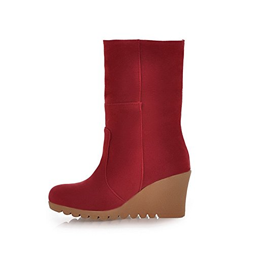 Amoonyfashion Mujeres Round Round Toe High Heels Lana De Cordero Frosted Solid Botas Con Cuña Roja