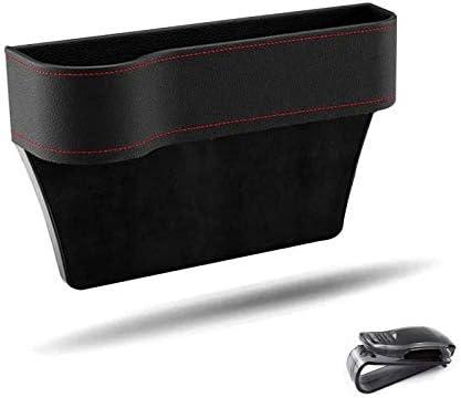 Multifunctionele opbergbox voor autobrillenhouder voor autozonneklep PUleer lekvrij zijvakken organizer autostoeltas side gap filler zwart links