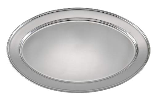Winco OPL-20 Stainless Steel Oval Platter, 20-Inch by 13.75-Inch by Winco
