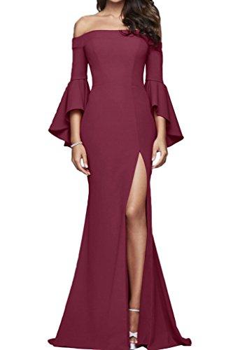 Modern Schlitz Aermel U Lang Promkleid Etui Linie Abendkleid Damen Festkleid Ivydressing Weinrot Partykleid Ausschnitt gqa5B5x