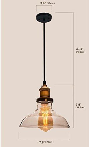 Birne nicht inbegriffen 1PC Huahan Haituo Industrial Edison Vintage Style 1-Licht Anh/änger Glas H/ängelampe Form der Tasse 14CM