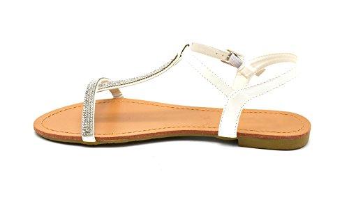Mode Bride Satinée Ornée Blanc Strass Sandales Nu de Pieds avec Boucle 40 Femme SHS63 wtCvfOqt