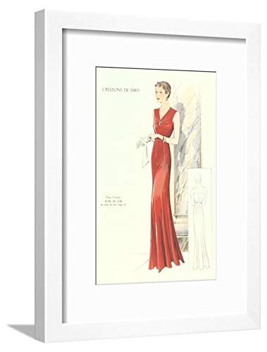 Evening Gown Framed - ArtEdge Haute Couture Evening Gown White Framed Matted Wall Art Print, 16x12 in