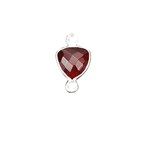 Hydro Garnet,Bezel Connector Trillion Shape 8mm Silver Plated Gemstone Connector/Pendant (HG-10369)