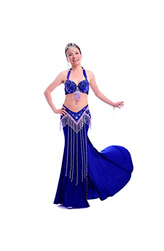 Belly Dance Costume Bellydance Dress Wear Sexy Suit: Bra & Belt & Skirt Sonlle,Dark Blue,M