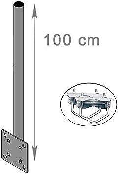 HD-LINE alargador mástil y Abrazadera de Soporte de Pared para (Horizontal o Vertical) balcón Antena para balcón 100 cm para Espejo Sat