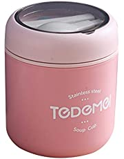 DOITOOL 530ml Thermal Insulated Lunch Container Leakproof Vacuum Soup Cup Sealed Hot Food Jar Travel Food Flask with Spoon for School Office Picnic Outdoors Pink