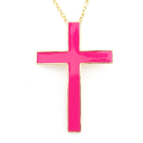 Simple Beautiful Gold-tone Enamel Cross Funky Statement Necklace ()