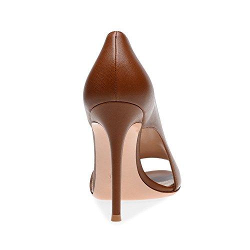 De De Satin Fonc Travail Noir De Stiletto Formelle Boucle amp; t Femmes Chaussures Mariage Marie Marron Business XUE Talon Stretch Pompe Toe Parti Soire Base B Peep Chaussures Robe axtzTFqw4