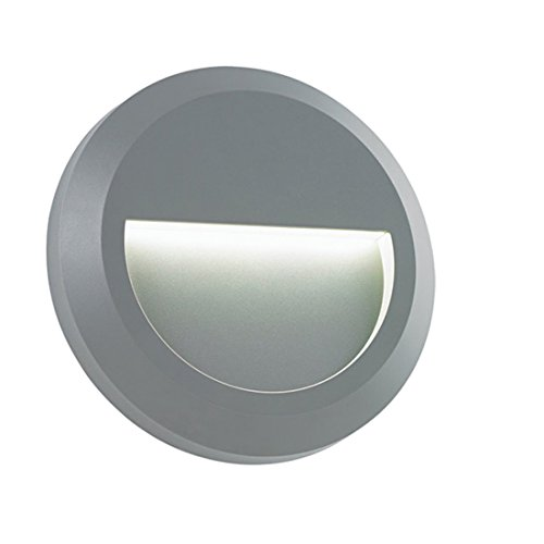 ZONK Outdoor Indoor Stair Step LED Circular Light Wall Mount Deck lighting Walkway Conner Lamp 120V, Grey