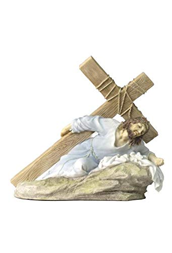 XoticBrands Jesus On The Ground Carrying The Crucifix (Light Color) - Religious - Polystone Sculpture