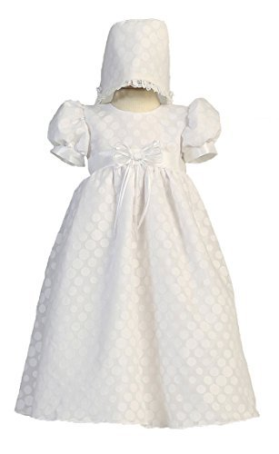 (Long White Poly Cotton Polka-dot Burnout Baby Girl Christening Baptism Special Occasion Newborn Dress Gown with Matching Hat - S (3-6 Month, 8-12 lbs))