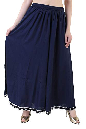 Navy Blue Color Rayon Sharara/Divider Palazzo Pants/Extra Wide Leg Pants