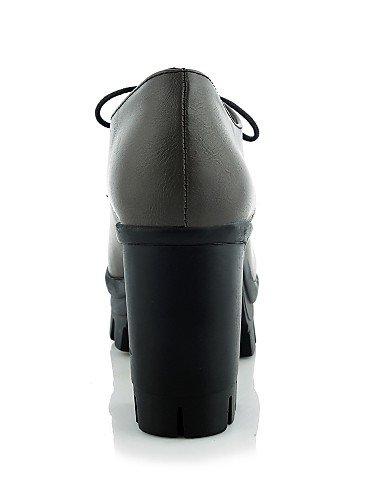 NJX/ hug Damenschuhe-High Heels-Büro / Lässig-Kunstleder-Blockabsatz-Absätze / Plateau-Schwarz / Grau black-us9 / eu40 / uk7 / cn41