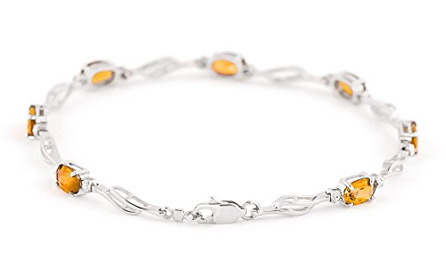 QP joailliers Bracelet diamant et Citrine Naturelle en or blanc 9carats, 3,38CT Coupe ovale-4279W