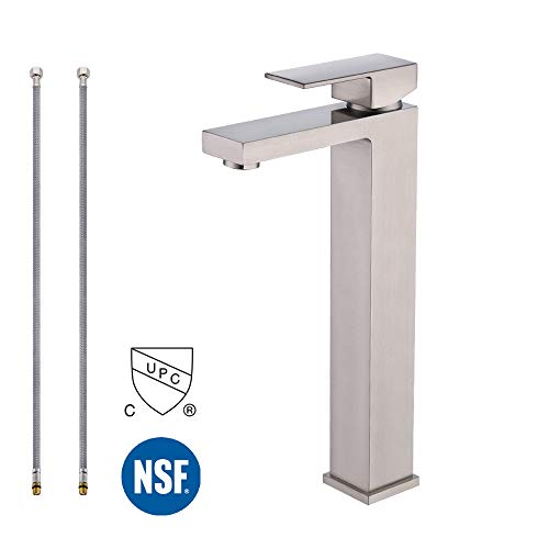 KES cUPC NSF Certified BRASS Lead-Free Brass Bathroom Sink Faucet Single Handle Lavatory Single Hole Vanity Sink Faucet Brushed Nickel, Tall, L3120BLF-2