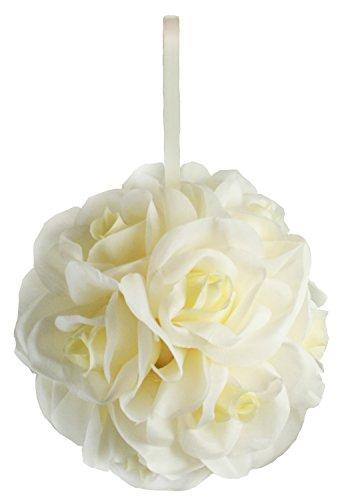 Garden Rose Kissing Ball - Ivory - 6 Inch Pomander ()