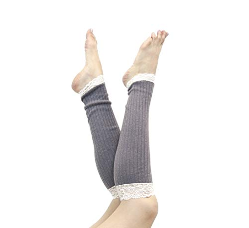 Long Lace Rib Knit Leg Warmers (Grey)