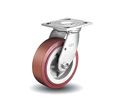 "Colson Polyurethane Maroon / Gray Swivel Caster 5"" x 2"" w/ 4"" x 4-1/2"" Top Plate"