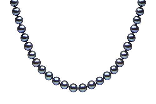 Kimura Pearls Femme  18carats (750/1000)  Or blanc #Gold Rond  Perle d'eau douce chinoise Noir Perle FINENECKLACEBRACELETANKLET