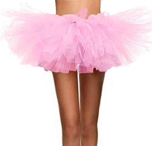 T-Crossworld Women's Classic 5 Layered Puffy Mini Tulle Tutu Bubble Ballet Skirt Pink -