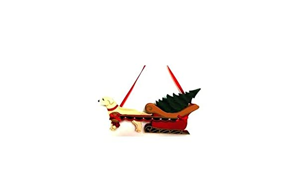 Amazon com: Yellow Lab Pulling Sleigh Christmas Ornament
