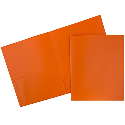 JAM Paper Biodegradable Plastic 2-Pocket Folders - Eco Friendly Folder - Orange - 6 per pack