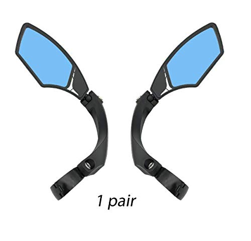 Hafny New Handlebar Bike Mirror, HD,Blast-Resistant, Glass Lens, HF-MR095 (One Pair (Anti-Glare Blue))