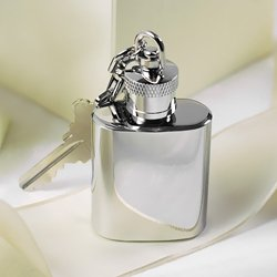 Mini Stainless Steel Chrome Plated Key Ring - Flask Plated Silver