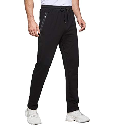 Tansozer Mens Joggers Slim Fit Jogging Bottoms Zip Pockets