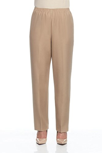 - Alfred Dunner Women's Petite Polyester Pull-On Pants - Short Length, Tan, 16 Petite Short