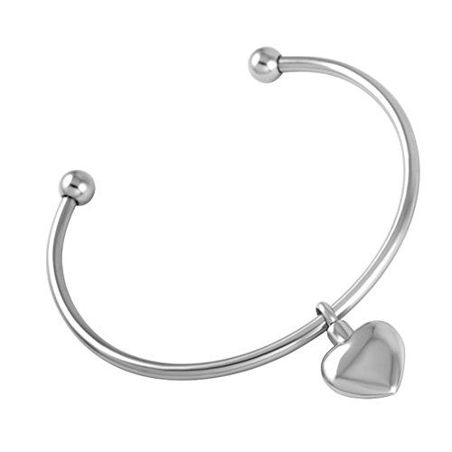Bracelet Sand Steel Stainless Cuff (constantlife PVD Plated Cuff Bangle with Heart Charm Pendant Stainless Steel Round Beads Bracelets with Ash Holder Charms)