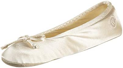 isotoner Women's Satin Ballerina Slipper with Bow, Suede Sole