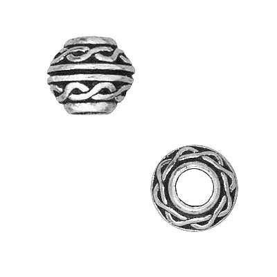 (TierraCast Fine Silver Plated Pewter Celtic Large Hole Spacer Beads 8mm (2))