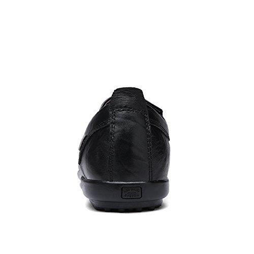 Abby 8088 Mens Hela Säsongen Dagdrivare Avslappnade Fritidsgiven Bekväma Smarta Driv Läder Sneakers Svart
