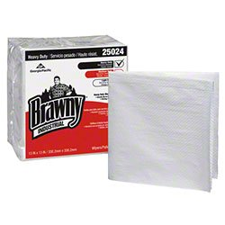 Georgia Pacific 25024 Brawny Towels, Commercial-Grade Brawny Industrial Shop Towels & Shop Rags - 13'' x 13'' (840/cs) by Zoom Supply