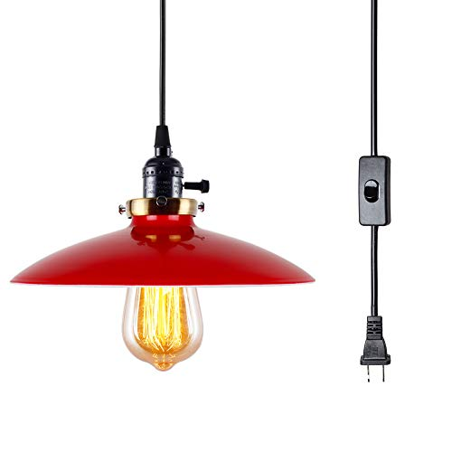 T A UFO Industrial Plug in Pendant Lights with Off On Switch,15.58 FT 1 Light Kitchen Antique Brass Hanging Light Fixture Red