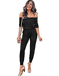 Longwu Women's Sexy Off Shoulder Jumpsuit Short Sleeve Romper Bodycon Overall Playsuits with Pockets