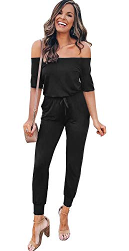 - Longwu Women's Sexy Off Shoulder Jumpsuit Short Sleeve Romper Bodycon Overall Playsuits with Pockets Black-M