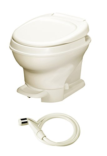 Aqua-Magic V RV Toilet Pedal Flush with Hand Sprayer /Low Profile / Parchment - Thetford 31662