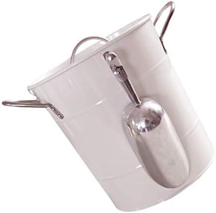 Cabilock 4. Cubo de Hielo de 5L Aislado de Metal Blanco para Mantener El Hielo Congelado Contenedor con Tapa Y Mango para Celebración Bar Bebida Cerveza Botella de Vino Tinto Suministros