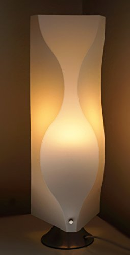 Table Lamp JK102S Contemporary Modern Asian style wavy white plastic shade Lighting with Art Deco design for Living Room Bedroom bedside teen and kids room … (LED bulb prefered)