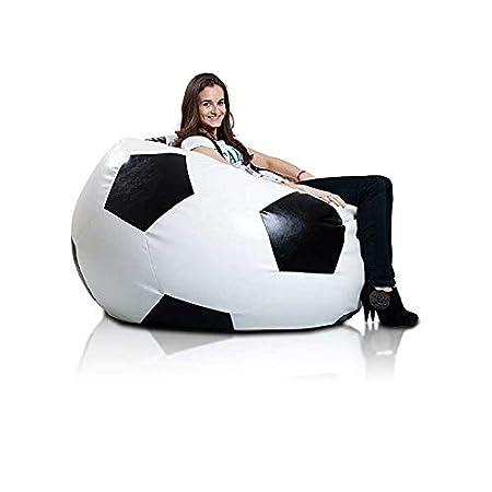 Pouf Poltrona Sacco Pallone Calcio Puff in Ecopelle 75 X 120 Pouf Pieno Nero Ecopuf Football XXXL