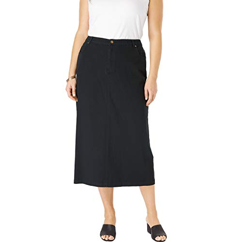 Jessica London Women's Plus Size Classic Cotton Denim Long Skirt - 22, Black