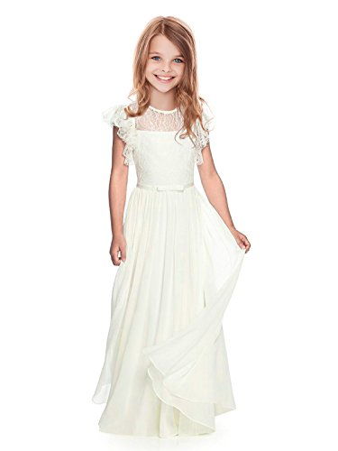 AbaoSisters Flutter Sleeves A-Line Flower Girl Dress White Size 8 (Dress Girl Size Flower 8 White)