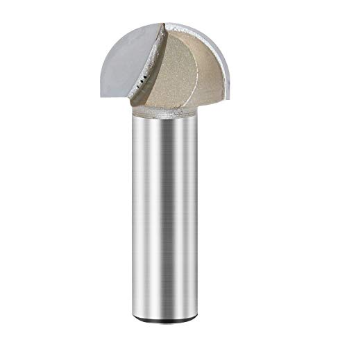 Core Box Router Bit Double Flute Round Nose Router Bit Carbide Tipped Woodworking Tool Round Groove Router Bit 1/2'' Radius x 1'' Dia. x 1/2 inch Shank (1/2X1)
