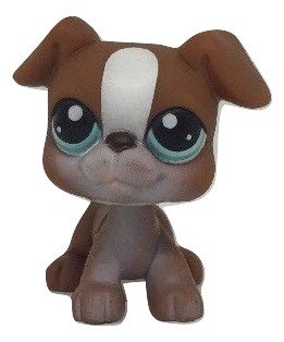 LPS Littlest Pet Shop Brown & White Boxer Puppy Dog with Blue Eyes #83 Loose/Packaged in Parts Bag